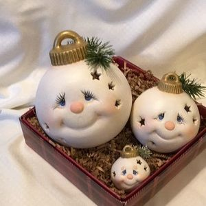 Other - Handmade Ornament Ball Faces Set of 3